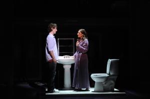 Diana (Catherine Porter) confronts her son, Gabe (Cary Tedder). Photo: Greg Mooney, courtesy of Alliance Theatre, Atlanta