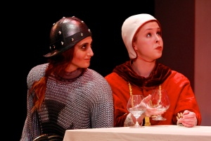 Jenna Fields (as Dull Gret) and Emily Zinski (as Pope Joan) in 'Top Girls.' Photo: Michael Davis