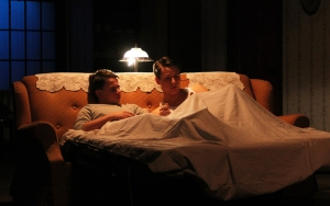 Brothers Jay (Ethan Zoeckler) and Arty (Gabe DiGenova) unhappily stay at their grandma's. Photo: Darian Sundberg