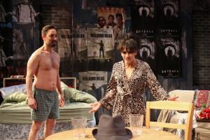 Jackie (Vaneik Echeverria) and Veronica (Karina Arroyav) quarrel over the mystery man's hat. Photo: Ed Dittenhoefer