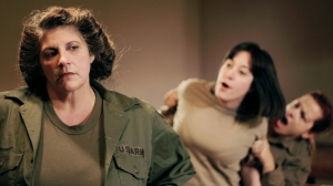 Tensions brew between Smitty (Theresa Constantine) and Pat (Sharon Sorkin) in 'Cry Havoc.'  Photo: Bryan Simcox