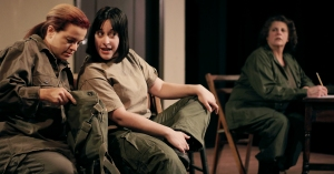 Rita Worlock as Grace, Sharon Sorkin as Pat and Theresa Constantine as Smitty in Appleseed Productions, 'Cry Havoc.'  Photo: Bryan Simcox