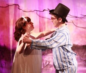 Wendy (Sara Weiler) and John (Jason Belanger) dance over London in 'Peter Pan.' Photo: Teri Dobrzynski