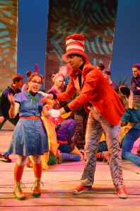 Sydney Patrick (Gertrude) and Robert Axelrod (Cat in the Hat) in the SU Drama production of Seussical.