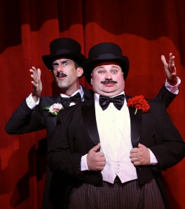 """Joel Van Liew (left) and Aaron Muñoz (right) jesting in """"The 39 Steps."""" Photo by Ken Huth"""