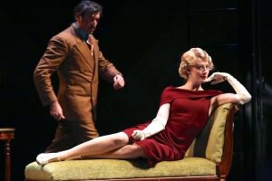 """Richard Hannay (John Gregorio) and Annabella (Monica West) striking up a """"conversation"""" in """"The 39 Steps."""" Photo by Ken Huth"""
