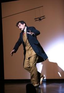 Richard Hannay (John Gregorio) running away from an incoming bi-plane. Photo by Ken Huth