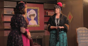 """Gina Fortino, Anne Fitzgerald (both left) and Kathleen Whipple in a scene from Appleseed's """"Harvey.""""  Photo by Bryan Simcox."""