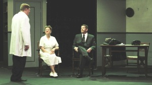 """Alan Stillman (left), Heather Roach and CJ Young in in a scene from Appleseed's """"Harvey.""""  Photo by Sean Walter."""
