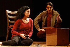 Soraya Broukhim (Janine/Jihane) and Dorien Makhloghi (Simon/Guide) in the Syracuse Stage production of Scorched. Photo by Michael Davis