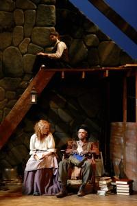 Bottom: Whitney Crowder (Maire) and Matt Maretz (Jimmy Jack Cassie). Top: Craig Kober (Hugh) in the SU Drama production of Translations. Photo by Michael Davis