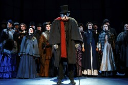 Steven Hendrickson (Scrooge) and the Ensemble of A Christmas Carol, running through December 29 at Syracuse Stage. Photo by Michael Davis
