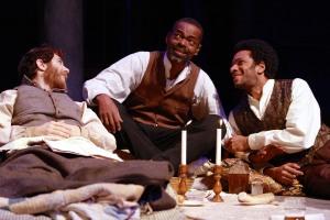 Gregory Perri (Caleb), Jonathan Peck (Simon), and Biko Eisen-Martin (John) in the Syracuse Stage production of The Whipping Man. Photographer Michael Davis.