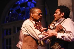 Jonathan Peck (Simon) and Biko Eisen-Martin (John) in the Syracuse Stage production of The Whipping Man. Photographer Michael Davis.