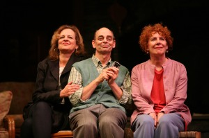 Nance Williamson (as Masha), Larry Paulsen (as Vanya), and Dori Legg (as Sonia) in the Syracuse Stage production of Vanya and Sonia and Masha and Spike. Photographer Michael Davis.