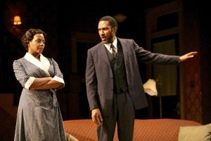Erika LaVonn (Bernice) and Ken Robinson (Avery) in the Syracuse Stage production of August Wilson's The Piano Lesson. Photographer Michael Davis.