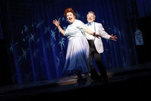 David Lowenstein (Edna) and Mark David Kaplan (Wilbur) in HAIRSPRAY. Photographer: Michael Davis.