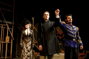 Lucy Rose Morgan, Ezekiel Edmonds, and Daniel Chavarriaga in the SU Drama production of William Shakespeare's Measure for Measure. Photo by Michael Davis.