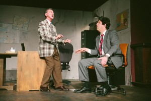 """Jack Sherman and Nathan Faudree in """"Glengarry Glen Ross"""" at CNY Playhouse. Photo by Amelia Beamish."""