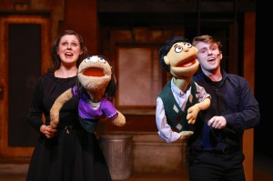 """Madie Polyak and Michael Roach in """"Avenue Q"""" at SU Drama. Photo by Michael Davis"""