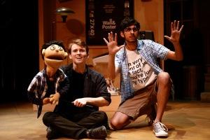 "Michael Roach (Princeton) and Cheech Manohar (Brian) in SU Drama's ""AVENUE Q."" Photo by Michael Davis"