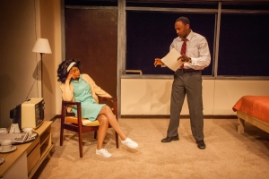 Angel Moore and Landon Woodson perform in 'The Mountaintop.'