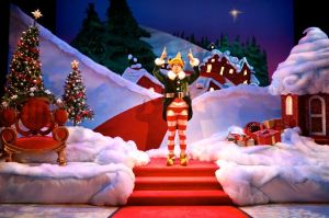 Wade McCollum as Crumpet the Elf in the 2015 Syracuse Stage production The Santaland Diaries by David Sedaris. (Photo by Mike Davis)